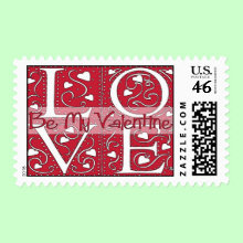 Square LOVE Postage Stamp - This stamp sends a loving sentiment on all of your correspondence during the month of love.