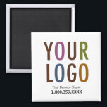 """Square Magnet Custom Business Logo Promotional<br><div class=""""desc"""">Easily personalize this magnet with your own business logo and custom promotional text. Your customers can use it as a refrigerator magnet while also having convenient access to your contact information when they need your products or services.</div>"""