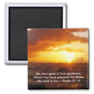 Square Magnet Scripture ~ Sunset, Ocean, PS 31:19