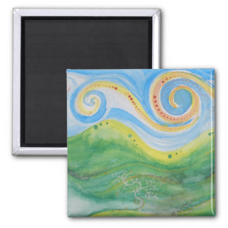 Square Magnet Swirly Sky Rolling Hills