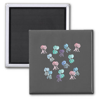 Square magnet with jellyfishes