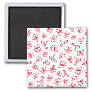 Square magnet with red flowers