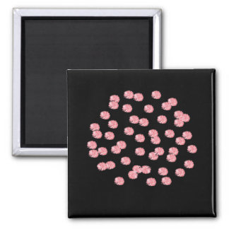 Square magnet with red polka dots