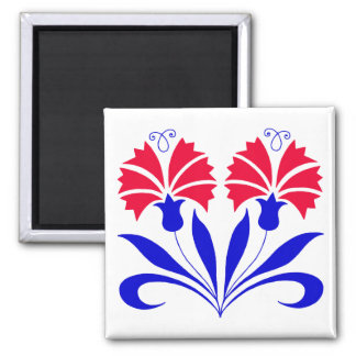 Square Magnet With Slovenian Carnations