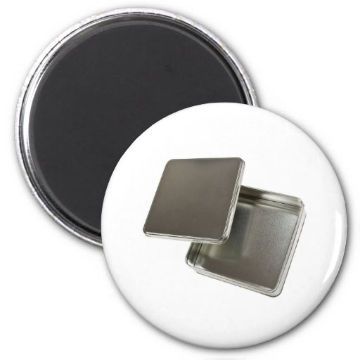 Square metal container 2 inch round magnet