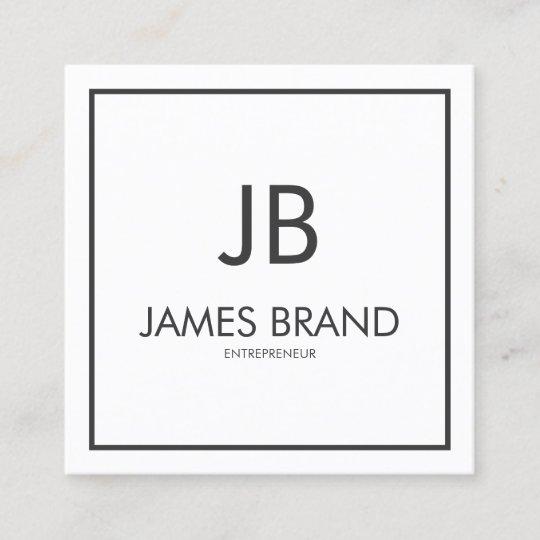 square minimalist black and white monogram square business card - Square Business Card Holder