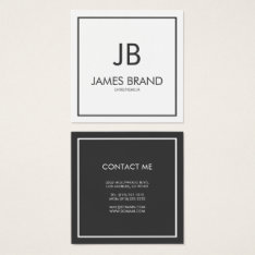 Square Minimalist Black And White Monogram Square Business Card at Zazzle