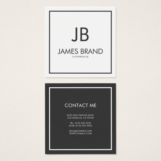 Square Minimalist Black And White Monogram Business Card