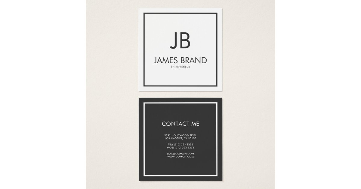 Square Minimalist Black and White Monogram Square Business Card ...
