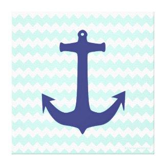 Square Mint Chevron Blue Anchor Canvas