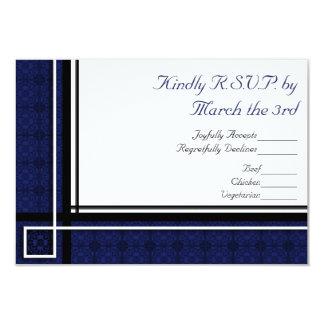 Square Modern Blue Wedding RSVP Card