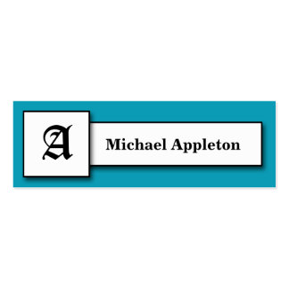 Square Monogram Blue Calling Cards Double-Sided Mini Business Cards (Pack Of 20)