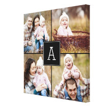 Square Monogram Custom Photo Canvas