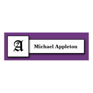 Square Monogram Dark Purple Calling Cards Double-Sided Mini Business Cards (Pack Of 20)