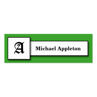 Square Monogram Green Calling Cards Double-Sided Mini Business Cards (Pack Of 20)
