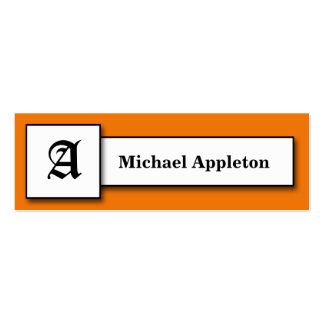 Square Monogram Orange Calling Cards Double-Sided Mini Business Cards (Pack Of 20)