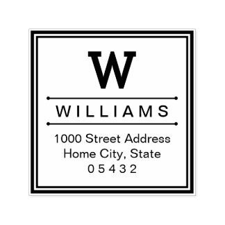 Square Monogram | Return Address Self-inking Stamp