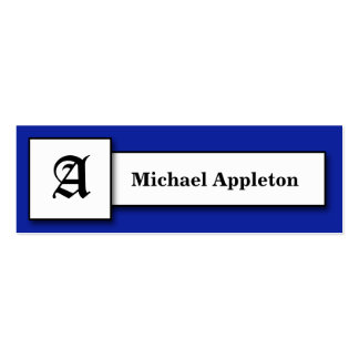Square Monogram Royal Blue Calling Cards Double-Sided Mini Business Cards (Pack Of 20)