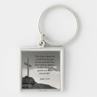 Square Mountain Cross Key Chain
