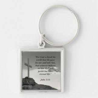 Square Mountain Cross Key Chain