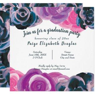 Square Multicolored Rose Graduation Invitation