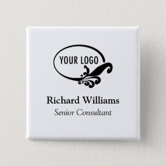 Square Name Button Pin Custom Business Logo Bulk