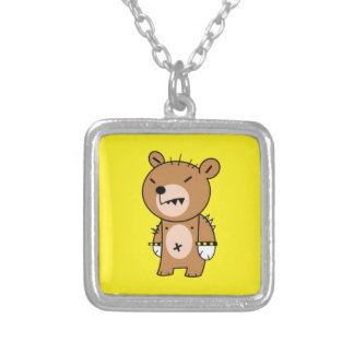 Square Necklace, Angry Bear Square Pendant Necklace