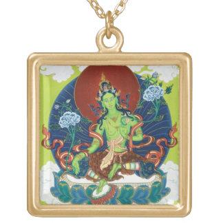 Square Necklace - Green Tara - Gold Finish