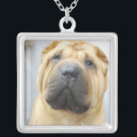 """Square Necklace Template - Customized<br><div class=""""desc"""">Wrinkly face shar pei dog with a cute  expression.</div>"""