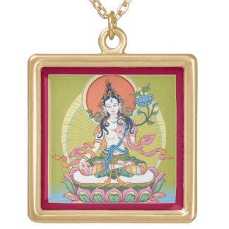 Square Necklace - White Tara - Gold Finish