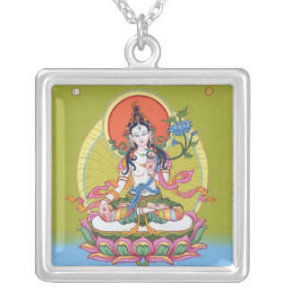 Square Necklace - White Tara - Silver Plated