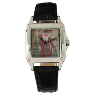 Square Needlepoint Santa Black Leather Croc Watch