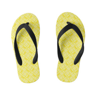 Square Oblong Circle From Yellow Textured Shapes Kid's Flip Flops
