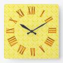Square Oblong Circle From Yellow Watercolored Square Wall Clock (<em>$33.45</em>)