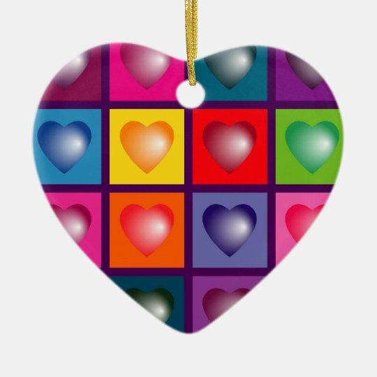 Square of hearts colour mix ceramic ornament