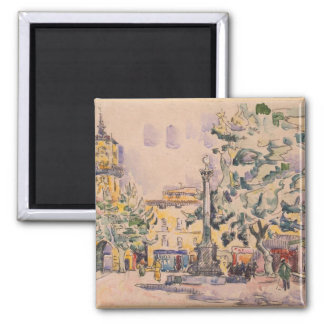 Square of the Hotel de Ville in Aix-en-Provence 2 Inch Square Magnet