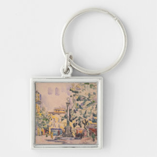 Square of the Hotel de Ville in Aix-en-Provence Silver-Colored Square Keychain