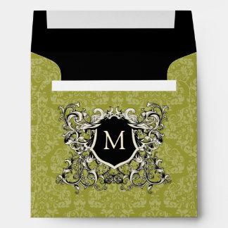 Square Olive Sage Green Damask Monogram Envelopes
