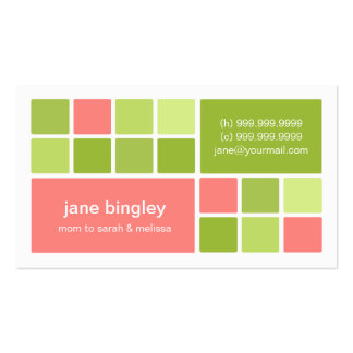 Square One Pink Green Mommy Business Card
