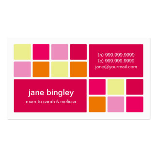 Square One Pink Orange Mommy Business Card