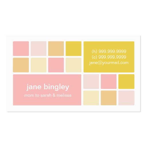 Quotsquare onequot pink yellow mommy business card zazzle for Mommy business cards