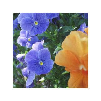 Square Orange Bloom and Purple Flowers Canvas Print
