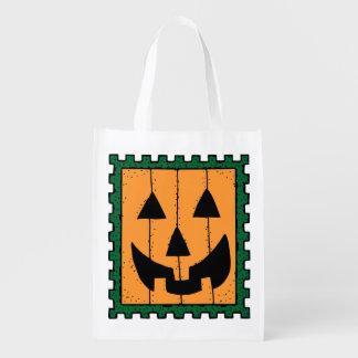 Square Orange Jack-O-Lantern Halloween Candy Bag Market Tote