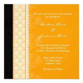 Square Orange One-Side Damask Wedding Invitations