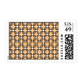 Square orange pattern postage stamp
