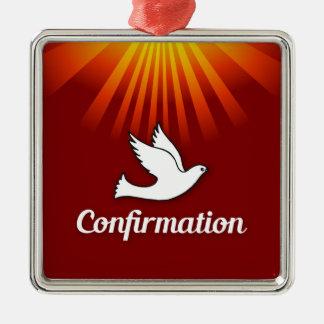 Square Ornament, Confimrtion, Dove on Red, Metal Ornament
