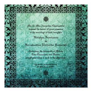 Square Ornate Damask Gothic Wedding Invitation1. 5.25x5.25 Square Paper Invitation Card