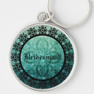 Square Ornate Green Damask Gothic Wedding favor ke Silver-Colored Round Keychain