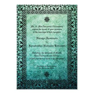 Square Ornate Green Damask Gothic Wedding Invitati 5x7 Paper Invitation Card