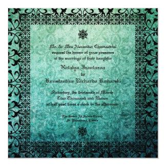 Square Ornate Green Damask Gothic Wedding Invitati 5.25x5.25 Square Paper Invitation Card
